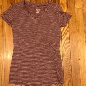 Target Mossimo burgundy striped v neck tee